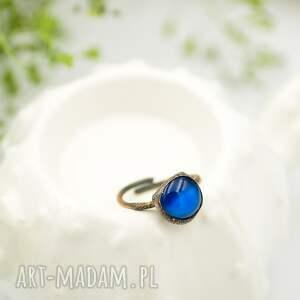 niebieskie pierścionki pierścionek-duży blue raw - pierścionek ze szkłem