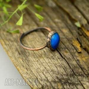 uniwersalny-rozmiar pierścionki blue raw - pierścionek ze szkłem