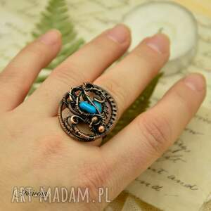 pierścionek brązowe blue sea - z koralem