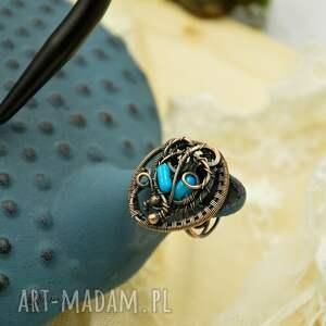 pierścionek blue sea - z koralem
