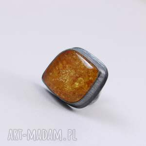 pierścionki bursztyn i srebro - pierścionek