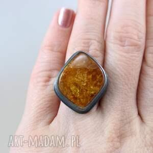 złote pierścionki srebro bursztyn i - pierścionek