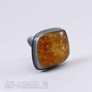 bursztyn pierścionki brązowe i srebro - pierścionek