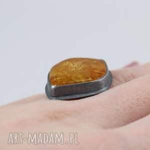 pierścionki z-bursztynem bursztyn i srebro - pierścionek