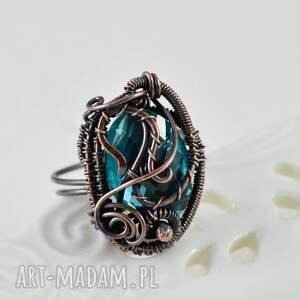 upominki na święta turkusowe crystal - pierścionek