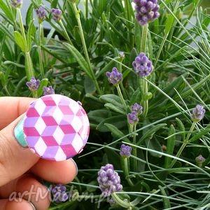 fioletowe geometryczne cube, pierścionek z polymer clay i