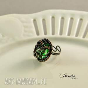 zielone pierścionki pierścionek demeter -