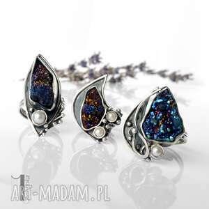 eleganckie pierścionki pierścionek velen srebrny pierścień z druzą