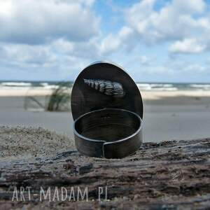 turkusowe pierścionki srebro druzy & seashell ring