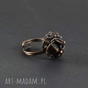 brązowe pierścionki pierścionek earth - z krzemieniem