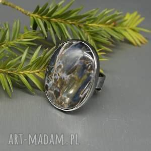 pietersit w-srebrze kolorowe elegancki pierścionek