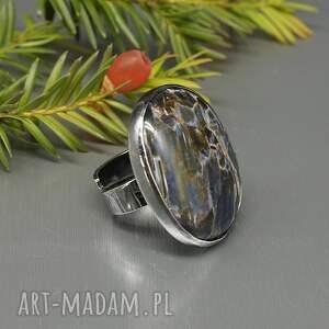 czarne srebrny pierścionek elegancki pietersit