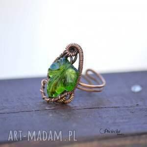 zielone pierścionki pierścionek erendel - z liściem
