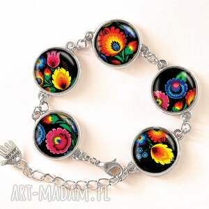 niesztampowe pierścionki kwiaty folk - pierścionek regulowany