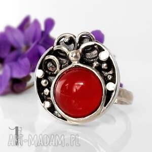 pierścionek pierścionki czerwone fragaria srebrny
