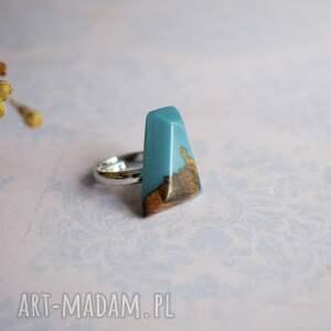 Sirius92 gustowne geometryczny pierścionek z drewna