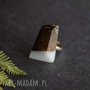 białe biżuteria z-żywicy geometryczny pierścionek z drewna