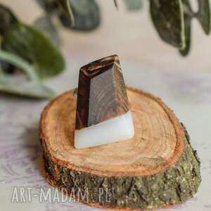 unikatowe dla niej geometryczny pierścionek z drewna