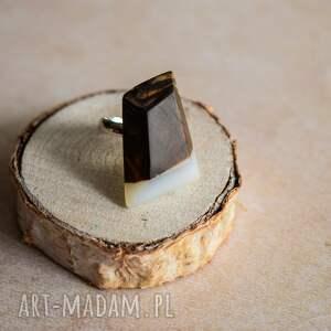 unikatowe pierścionek dla niej geometryczny z drewna