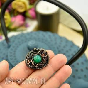 agat green agate - pierścionek