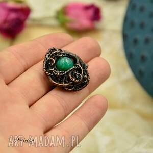 brązowe miedź green agate - pierścionek