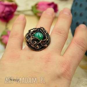 pierścionek green agate