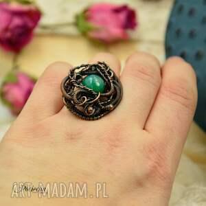 pierścionek zielone piękny duży wykonany od podstaw