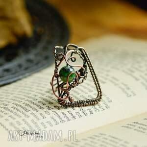 pierścionek zielone green geometry - duży