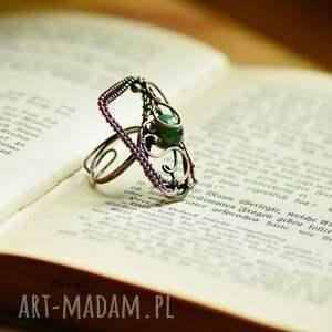 brązowe zoisyt green geometry - duży pierścionek
