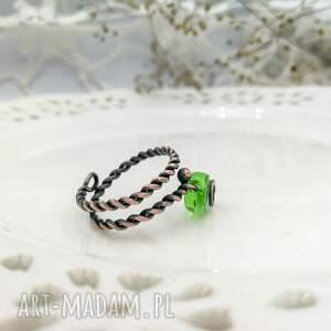 niekonwencjonalne pierścionek mini green leaf - spiralny