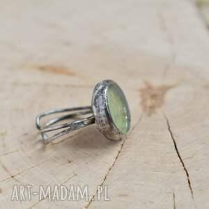 zielone pierścionek z-mchem green - z prawdziwym