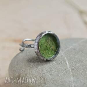 pierścionek regulowa green - z prawdziwym