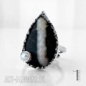 szare pierścionki perła greystone srebrny pierścień z perłą