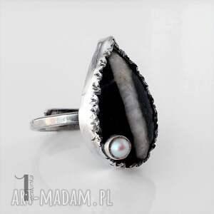 srebro białe greystone srebrny pierścień z perłą