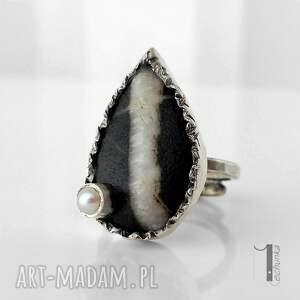 pierścionki regulowany greystone srebrny pierścień z perłą