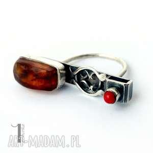 srebro czerwone jurata - srebrny pierścionek