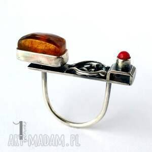 pomarańczowe koral jurata - srebrny pierścionek