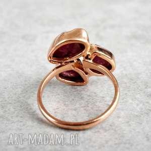 złote pierścionki turmalin 925/18k różowo pozłacany