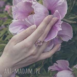 minerał pierścionki 925/18k różowo pozłacany