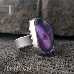 srebro pierścionki fioletowe kandela - srebrny pierścień