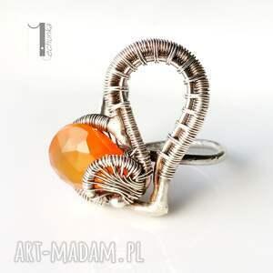 karneol karmelove - srebrny pierścionek