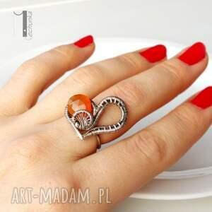 karneol pomarańczowe karmelove - srebrny pierścionek
