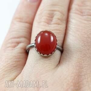 brązowe pierścionki srebro karneol i - pierścionek