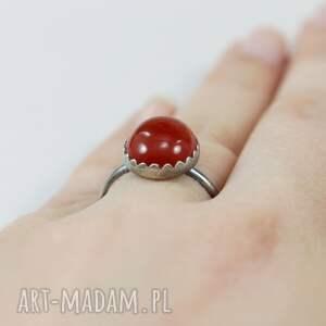 karneol pierścionki czerwone i srebro - pierścionek
