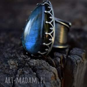srebro pierścionki królewski pierścień z labradorytem