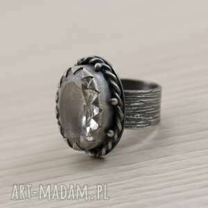 srebrny-pierścionek pierścionki kryształ górski i srebro - okazały