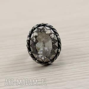 kryształ pierścionki srebrne górski i srebro - okazały