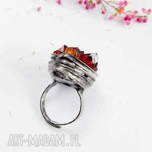 pomarańczowe pierścionki cytryn kryształki cytrynu - pierścionek