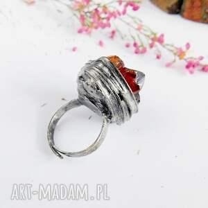 druza pierścionki czerwone kryształki cytrynu - pierścionek