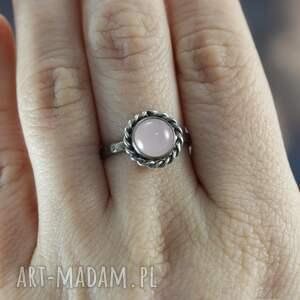 pierścionki srebro kwarc różowy i - pierścionek